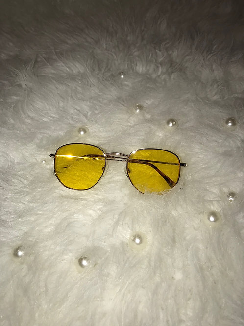 Small round yellow sunglasses