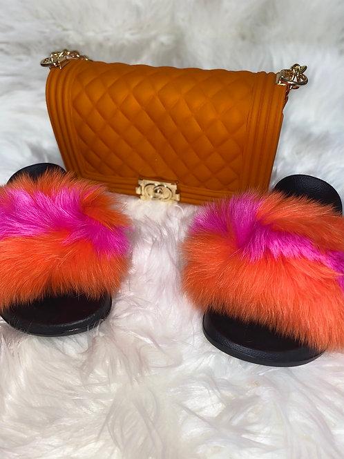 Orange and pink fur slipper set