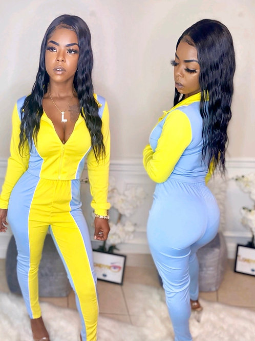 Yellow and blue jogging suit