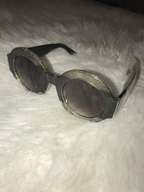 Round Black and Clear Sunglasses