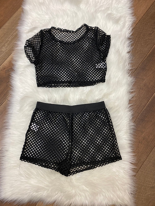 Black net 2 piece cover up