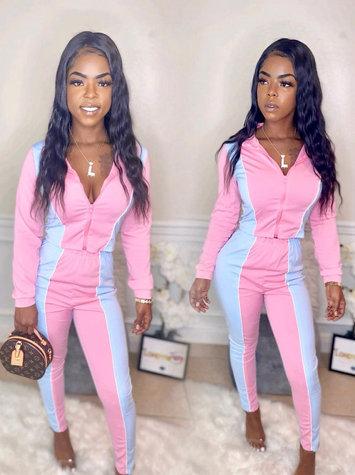 Pink and baby blue jogging set