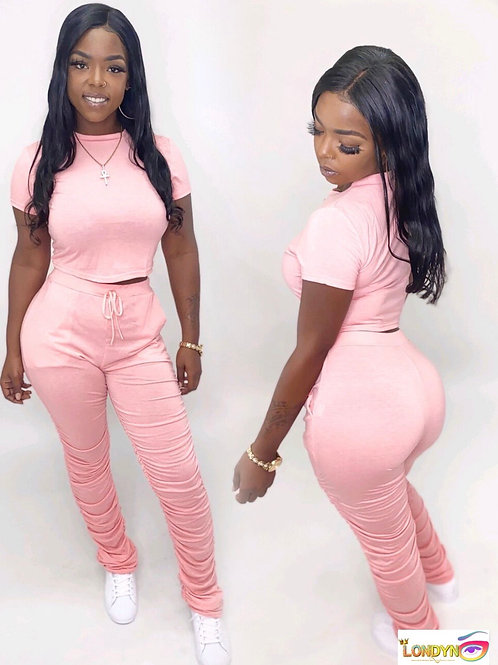 Pretty in pink stacked pants