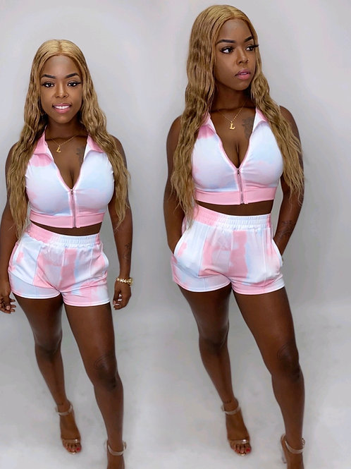 Pink and white 2 piece short set