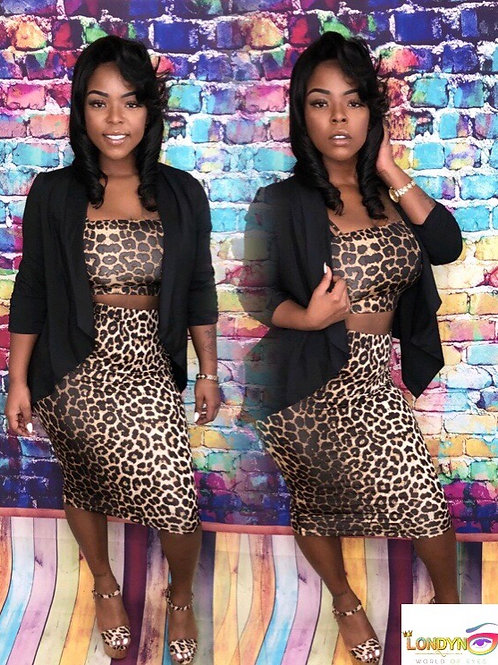2 piece pencil leopard skirt set