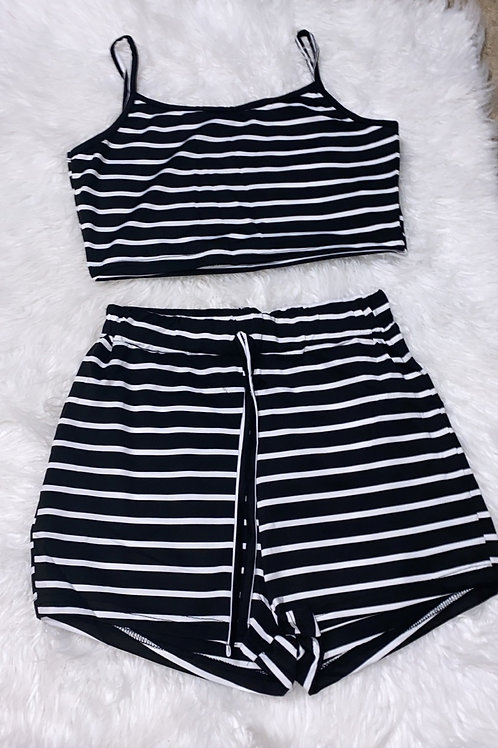 Black stripe chill set