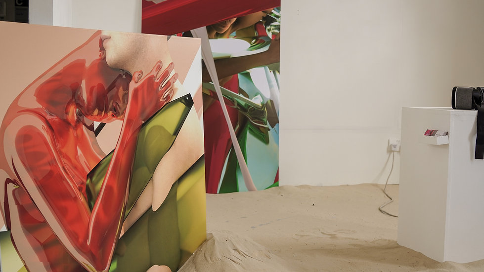 osmosis, Paola Pinna, exhibition, mostra, sand, sabbia, ual, postgraduate, london, animtin, render, postdigital, postinterne, vr, virtual, reality