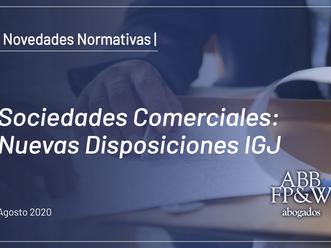 Sociedades Comerciales: Nuevas Disposiciones IGJ