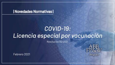 COVID-19: Licencia especial por vacunación