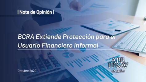 BCRA extiende protección para el usuario financiero informal