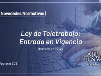 Ley de Teletrabajo: Entrada en Vigencia