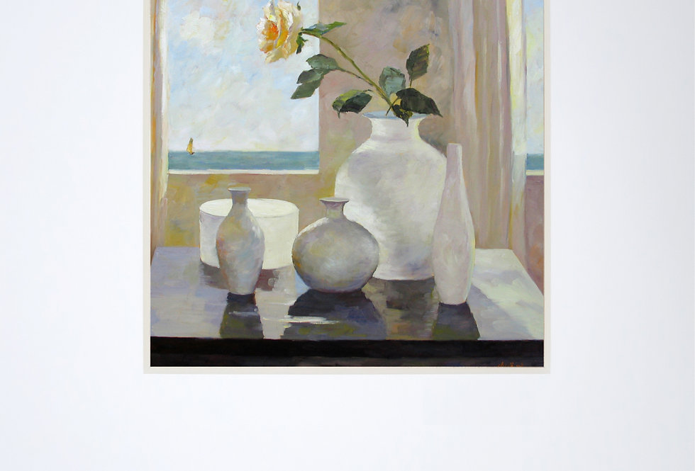 The Rose on the White Vase