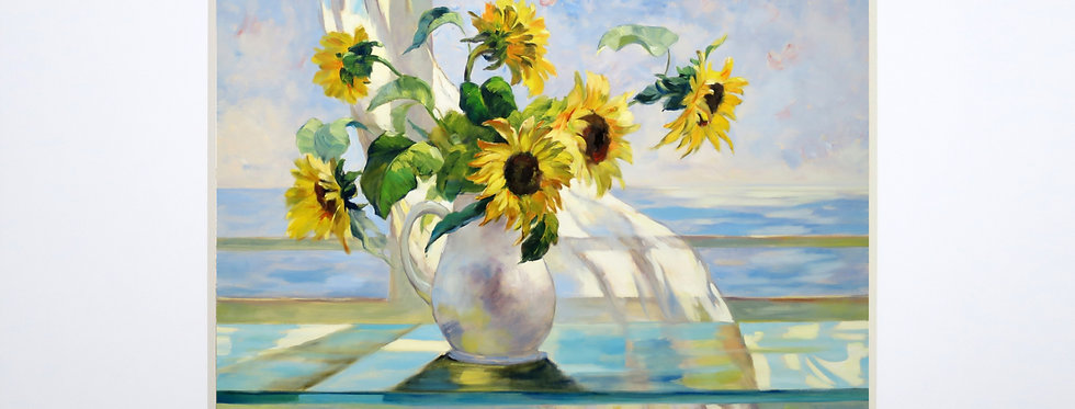 Sunflowers and the White Curtain