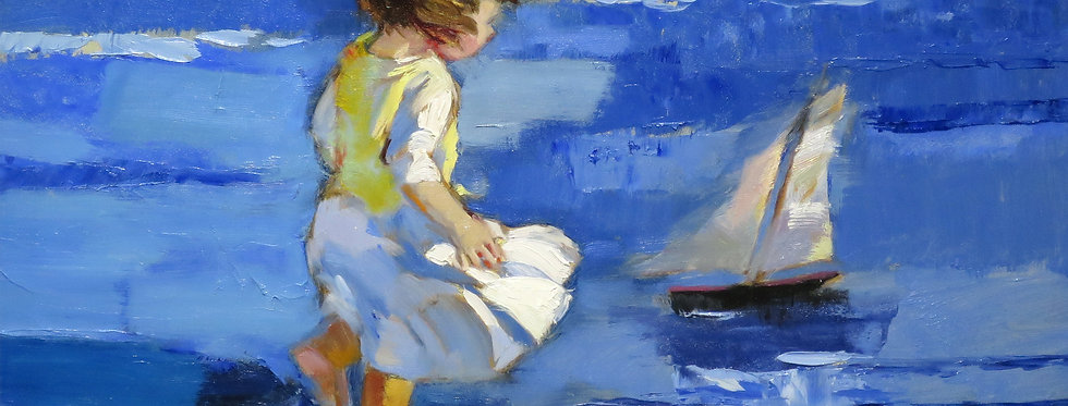 A Little Girl Plays a Sailboat