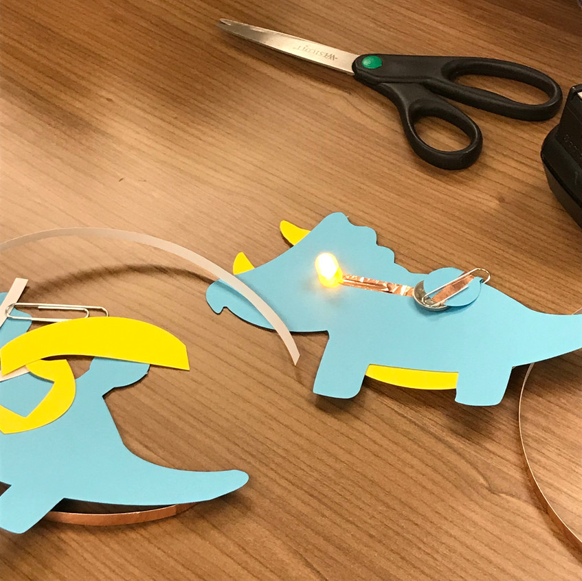 Roar! These customized paper circuits were a hit and didn't require any soldering!