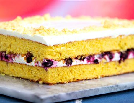 Corn and Blueberry Sheet Cake