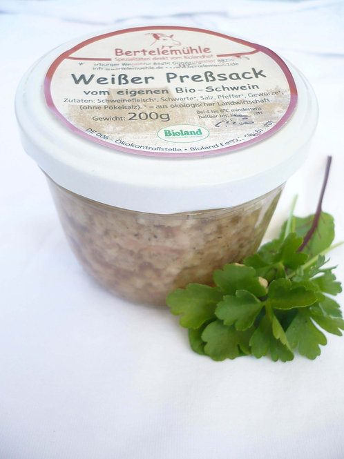 Weißer Bio Preßsack im Glas - 200 g. - typisch bayerische Brotzeit