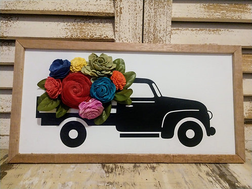 Truck with Wood Flowers