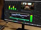 Editing video at Crimson Multimedia offices