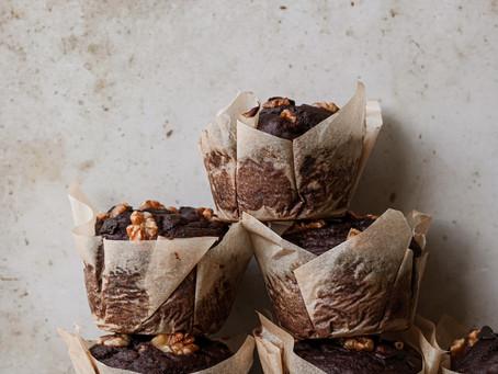 Веганские шоколадно-банановые маффины с грецким орехом