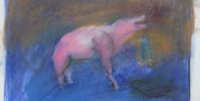 Shanti-om gorton, 29x20cm, pastel on pap