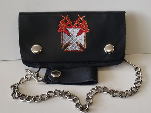 "6"" leather Flaming  Cross chain wallet"
