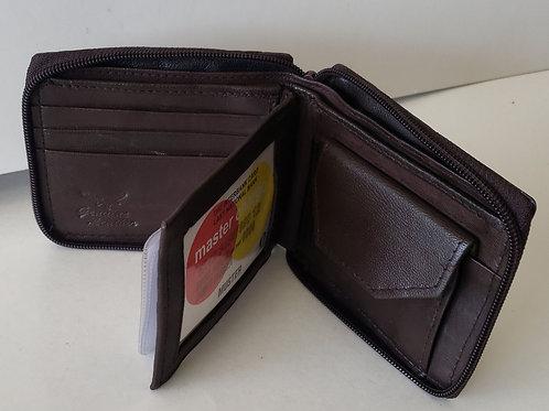 Tri fold zipper wallet