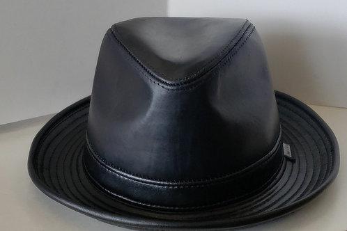 Black leather Fedora