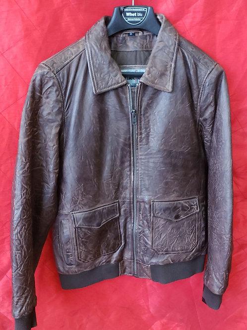 Mens Brown lambskin bomber jacket
