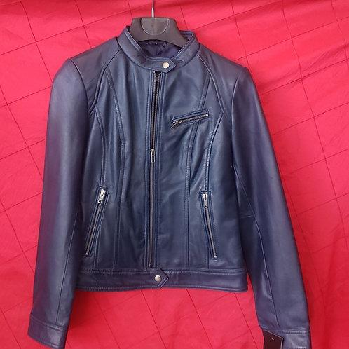 Navy blue lambskin ladies jacket