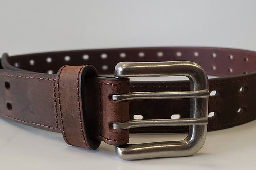 Brown double whole leather belt