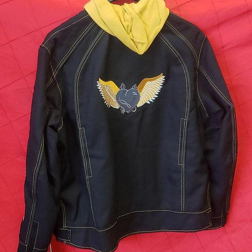 Ladies hooded textile jacket