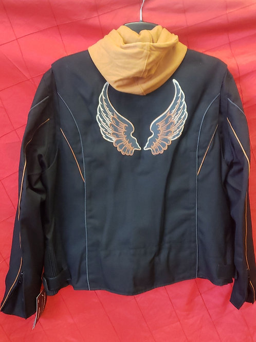 Ladies textile hooded jacket