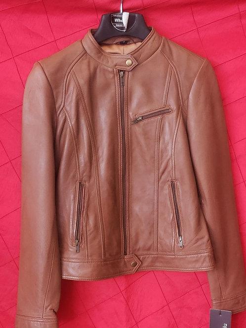 Ladies tan lambskin jacket