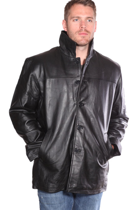 Black button up leather jacket