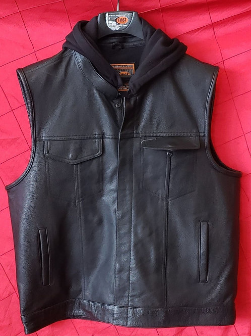 Hooded  Leather club vest