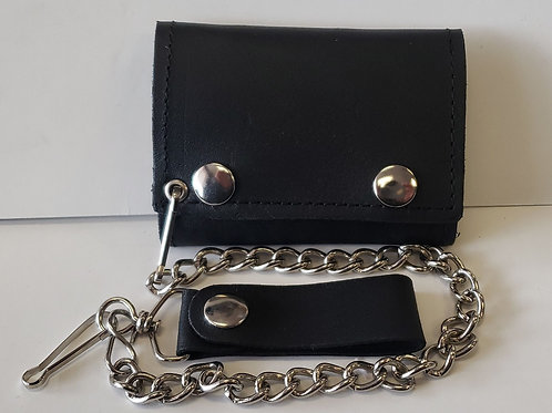 """4"""" leather trifold chain wallet"""