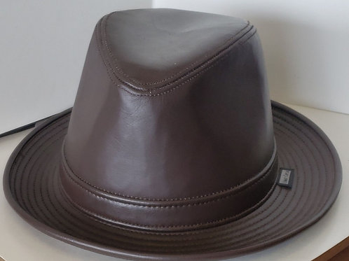 Brown Leather  Fedora