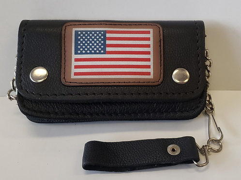 "6"" leather USA chain wallet"