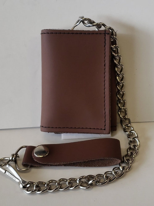 "4"" leather trifold chain wallet"