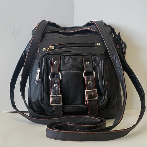 Leather cross body concealed carry purse
