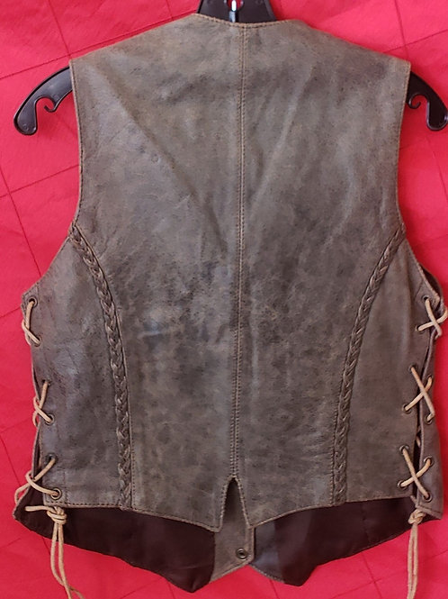 Ladies leather distressed brown vest