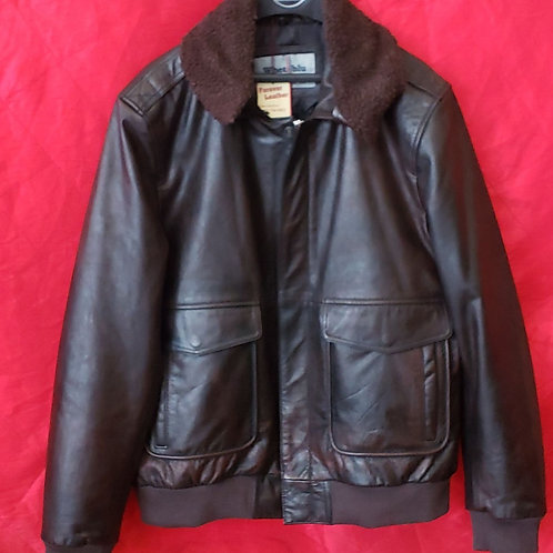 Mens Dark Brown leather bomber