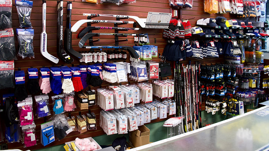 Behind the counter of the Pro Shop.