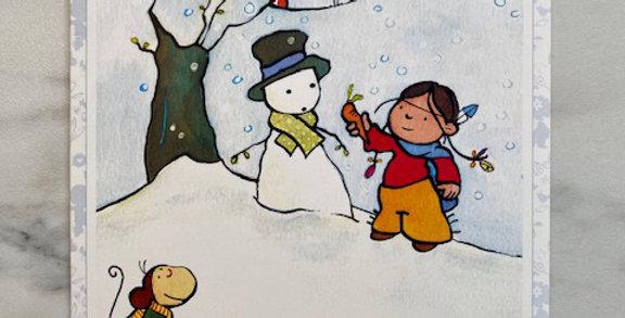 Kerstkaart 'Mr. Snowman'