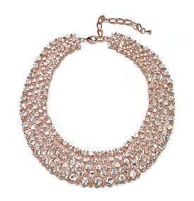 Crystal round collar rose gold plated necklace