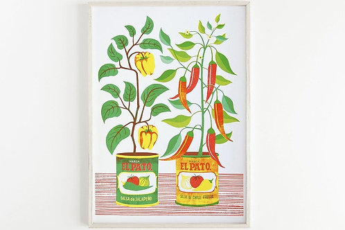 NEW - 'Chilli Peppers' - A3 original risograph print