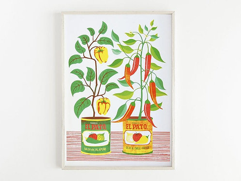 'Chilli Peppers' - A3 original risograph print