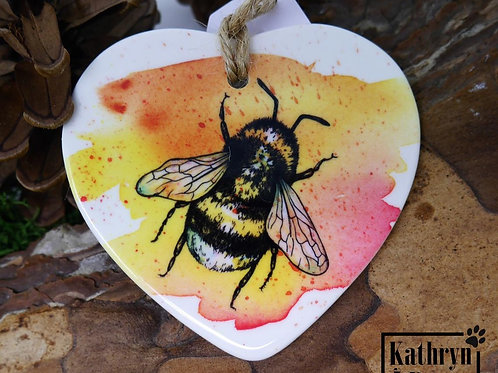 Ceramic bumblebee decoration - with blue cornflower seeds and postcard