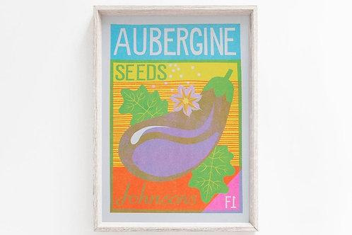 NEW - 'Aubergine Seeds' - A4 original risograph print